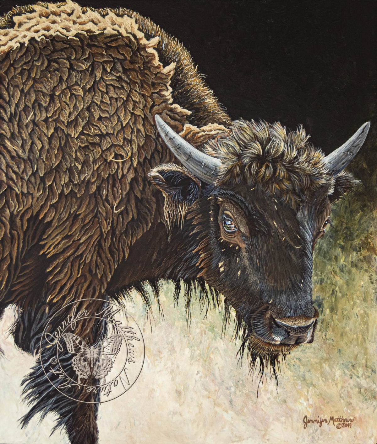 Original art, Oil Painting,acrylic painting, north dakota, wildlife, midlife art, wildlife painting, nature, nature art, nature painting, capture north dakota, north dakota legendary, north dakota be legendary, explore north dakota, ND, Bison, American Bison, Bison Bull, Buffalo, young bison, Theodore Roosevelt National Park, TRNP